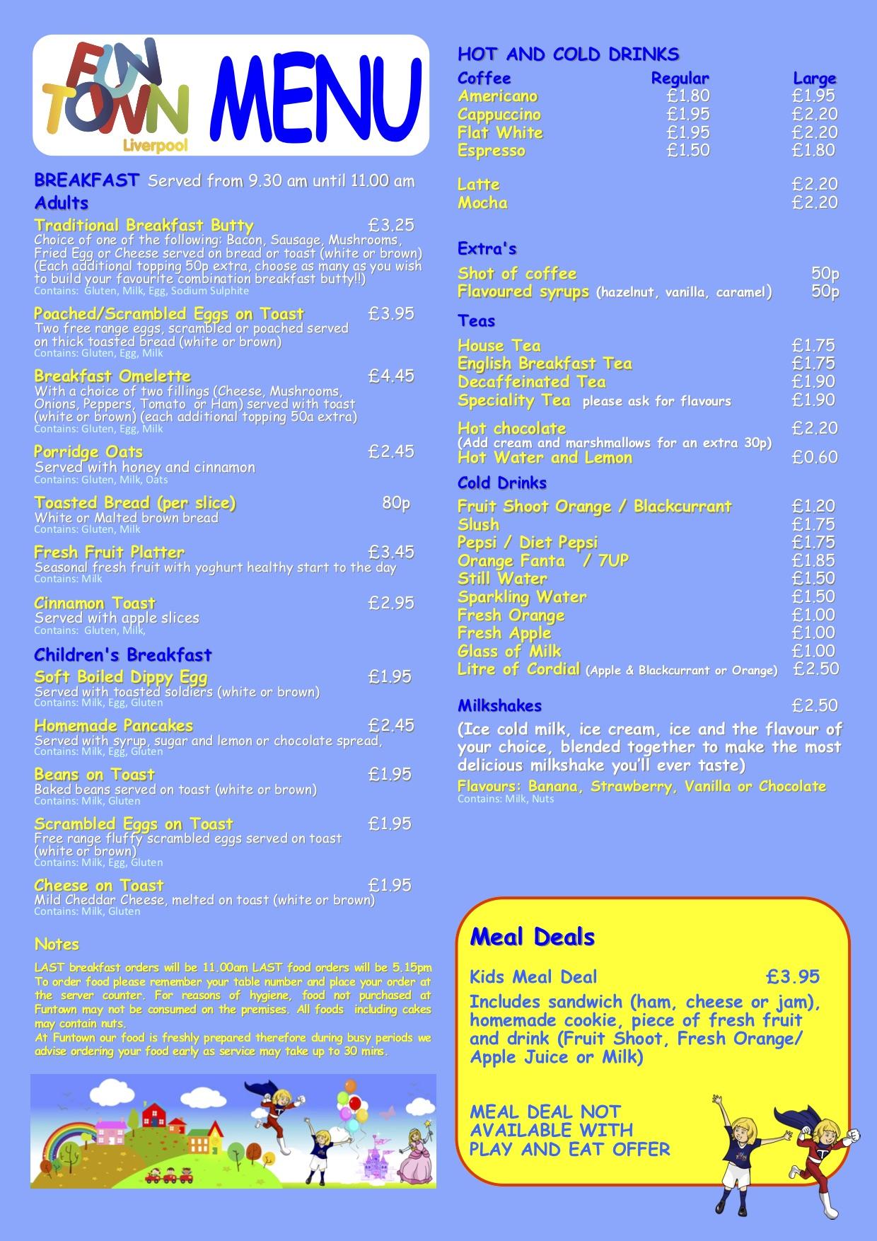 funtown liverpool food menu